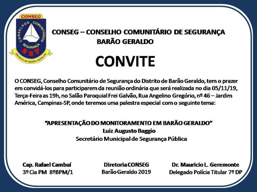 REUNIÃO CONSEG NOVEMBRO
